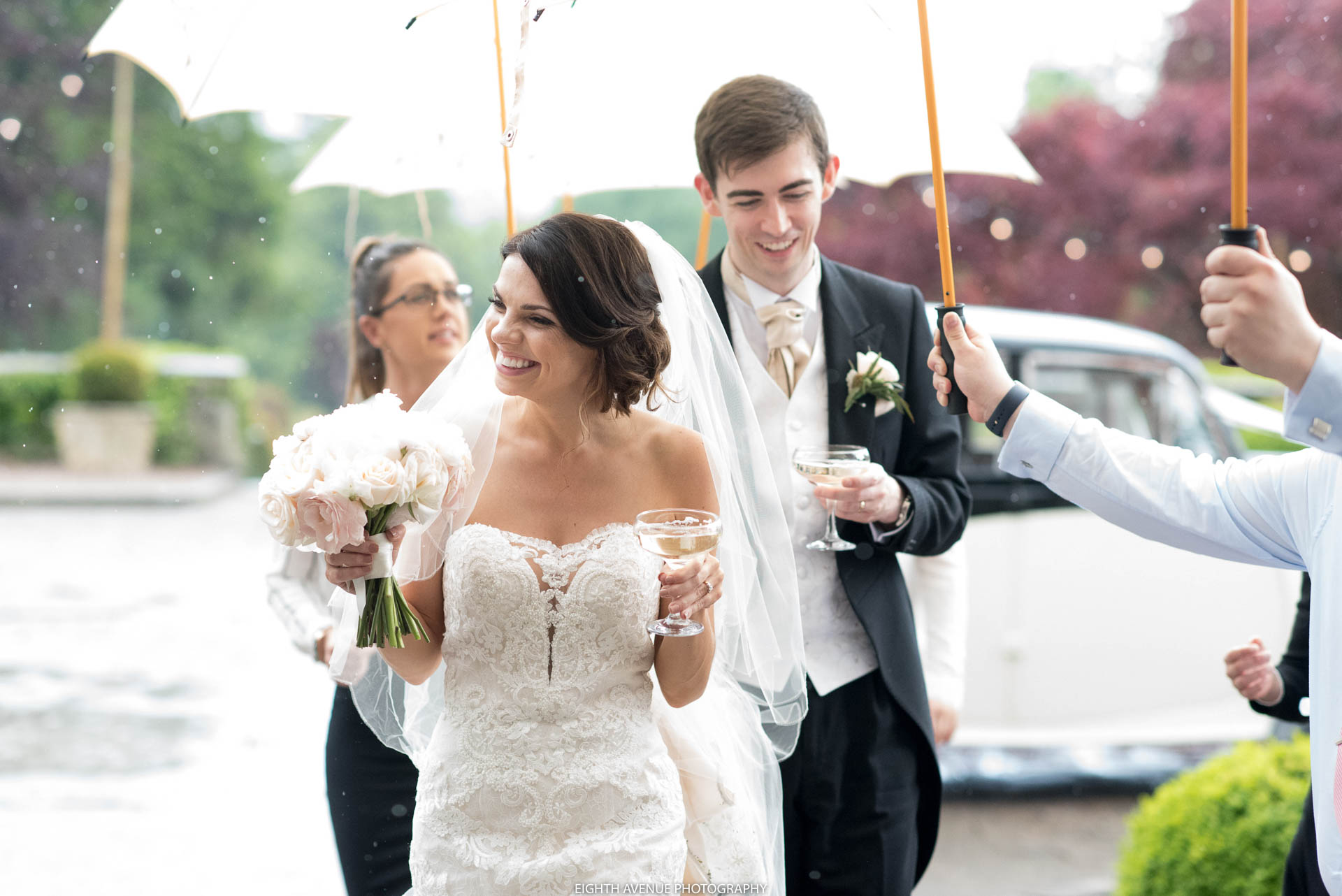 Bride arriving at Eaves Hall