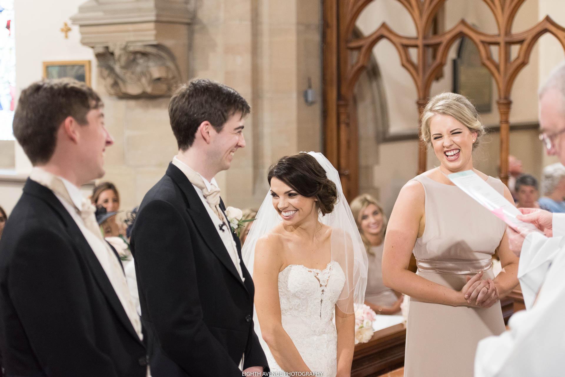 Bride laughing at wedding