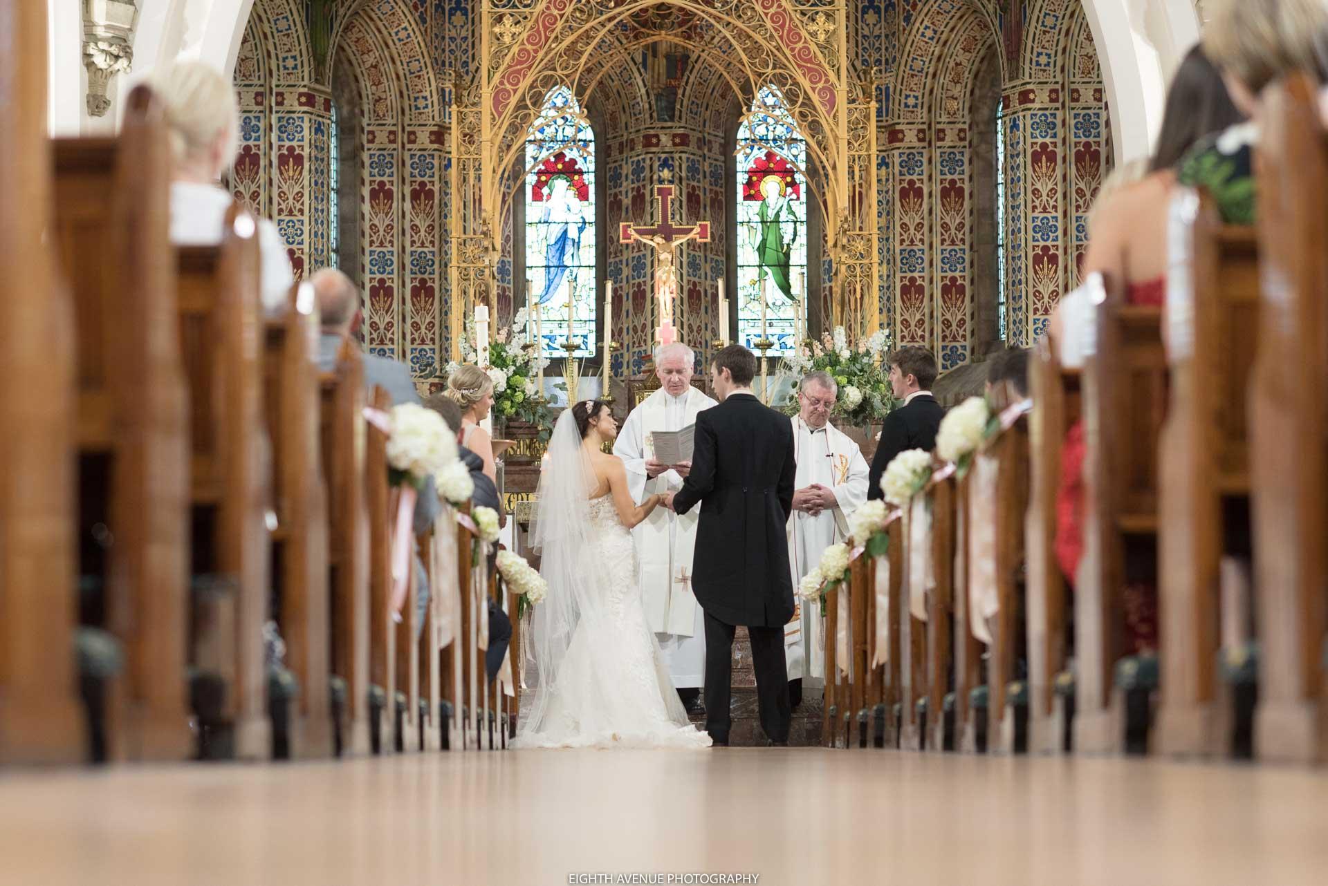 Bride and groom at church wedding