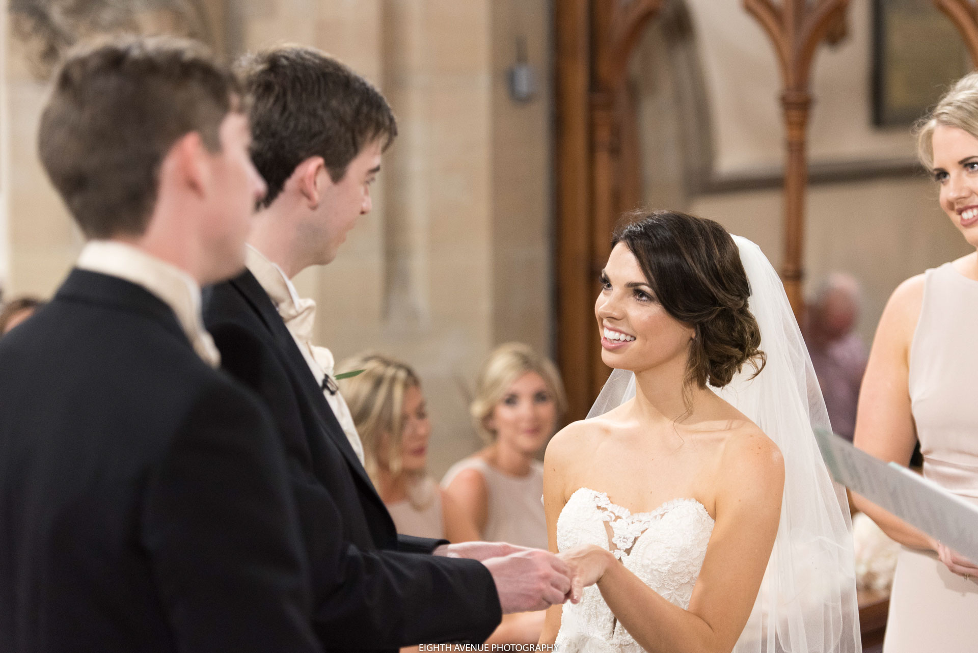 Bride smiling at wedding