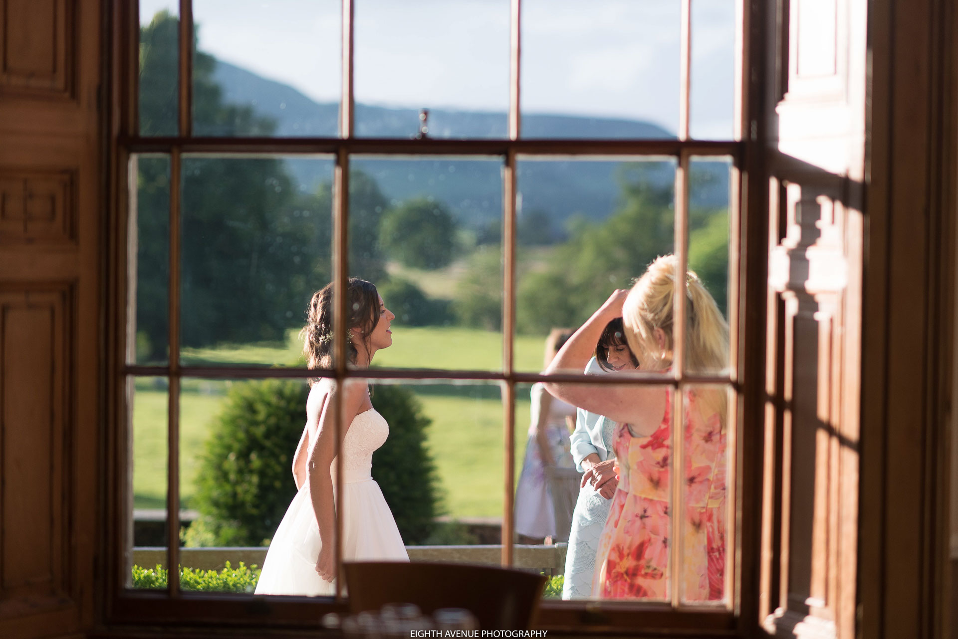 View through window to bride