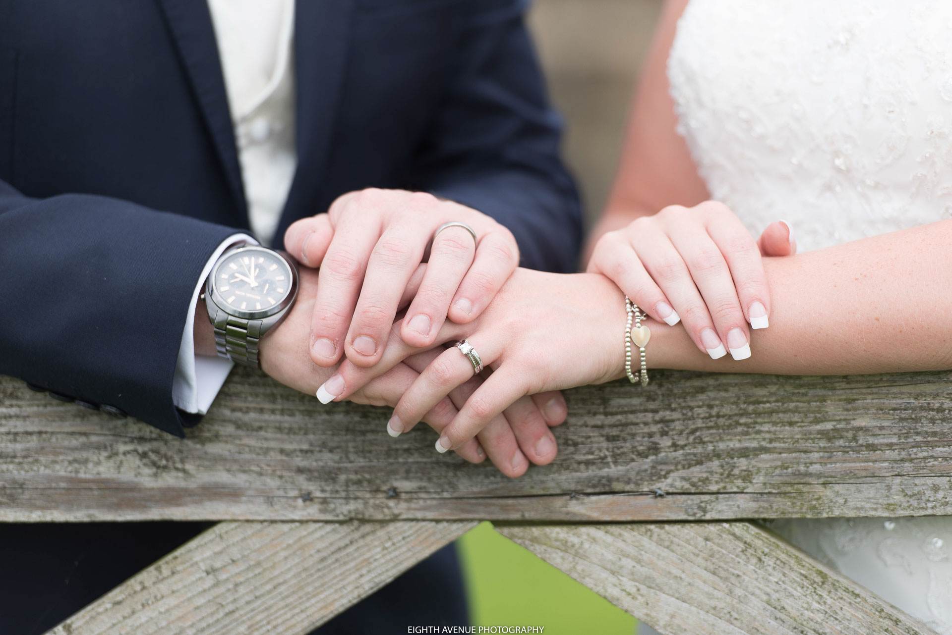 Bride and grooms hands at their Beeston Manor wedding
