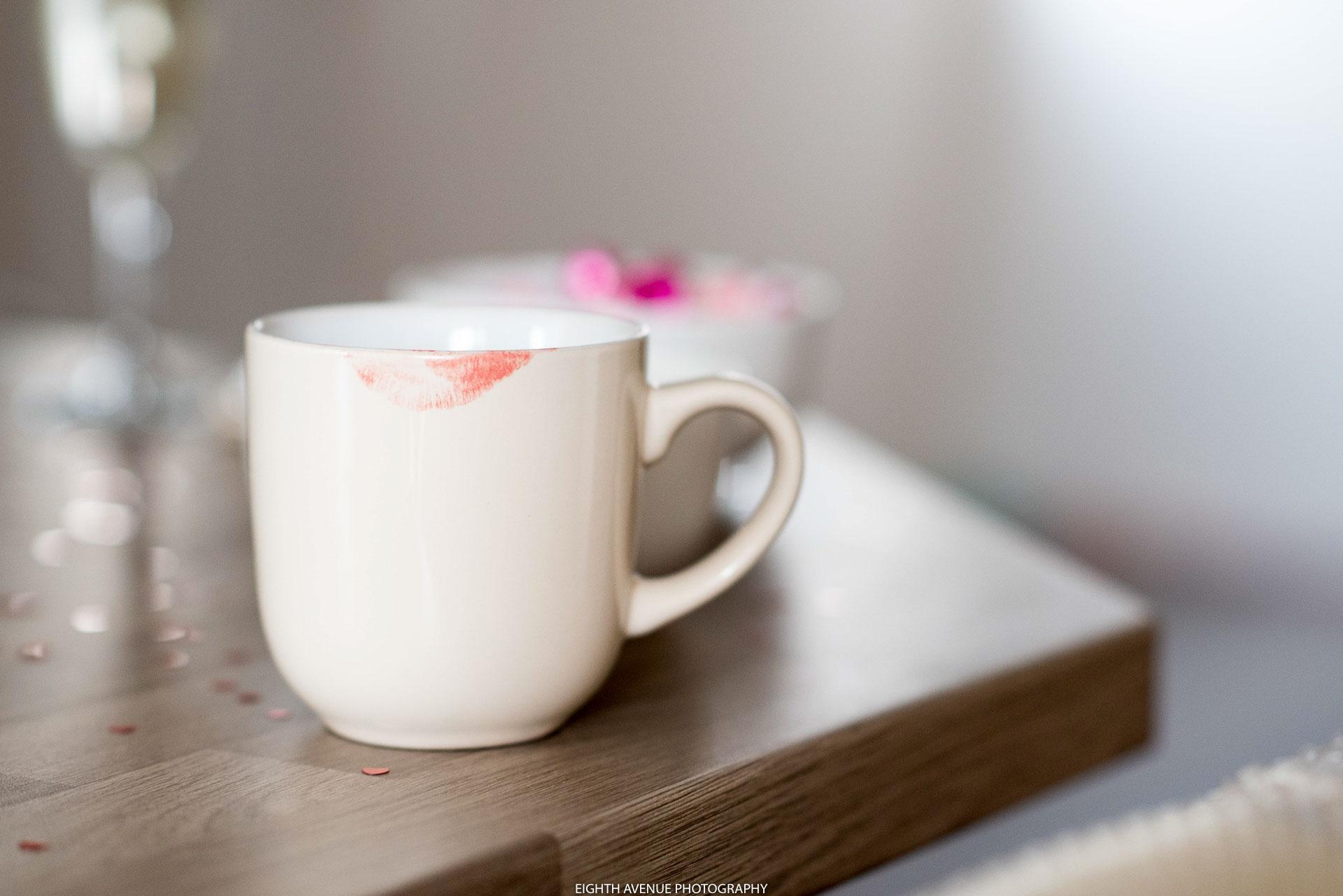 Bride's lipstick mark on cup