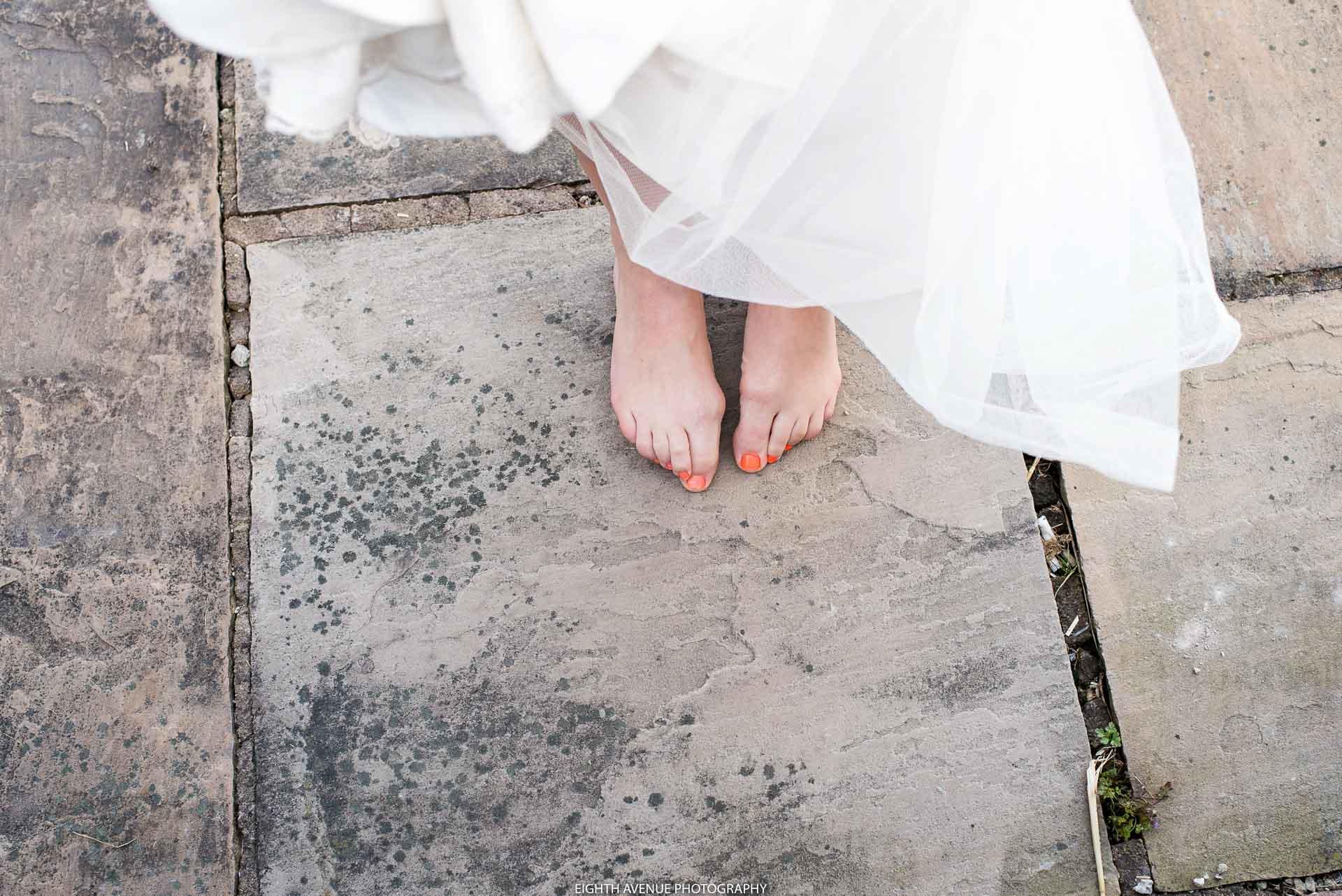 Bride's feet at Beeston Manor