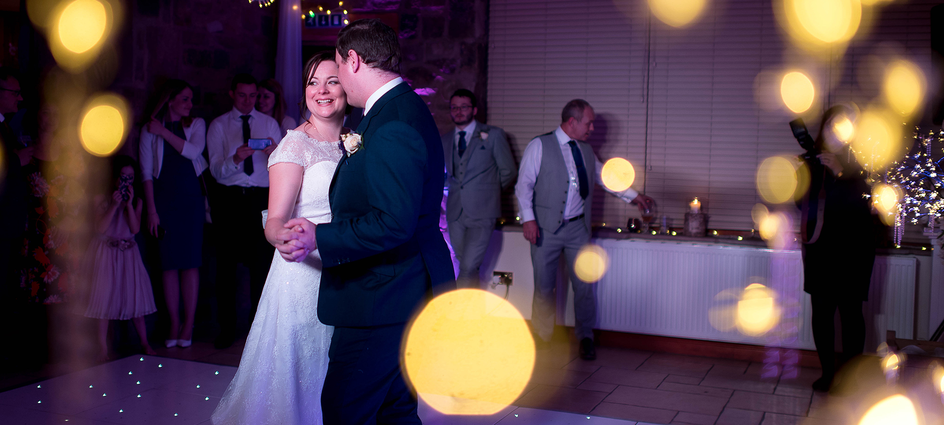 Bride and groom share first dance at Beeston manor wedding