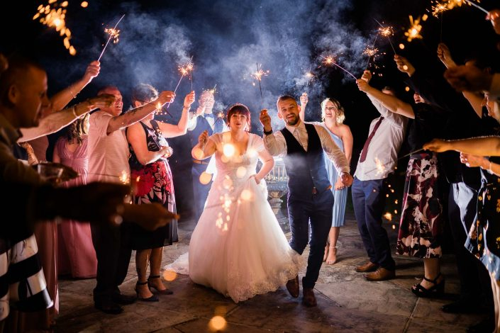 Bride and groom wedding sparklers