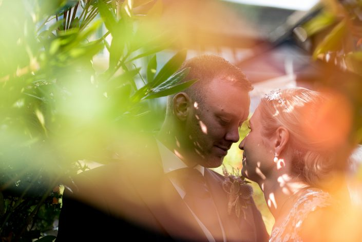 Bride and groom portrait at Higher Trapp