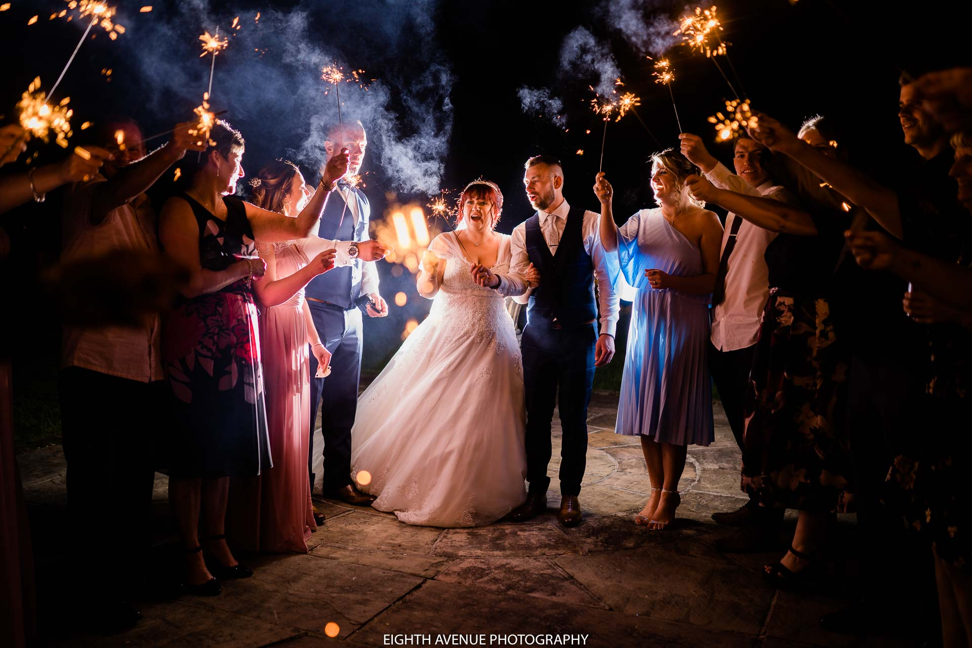 Beeston manor Wedding sparkler shot