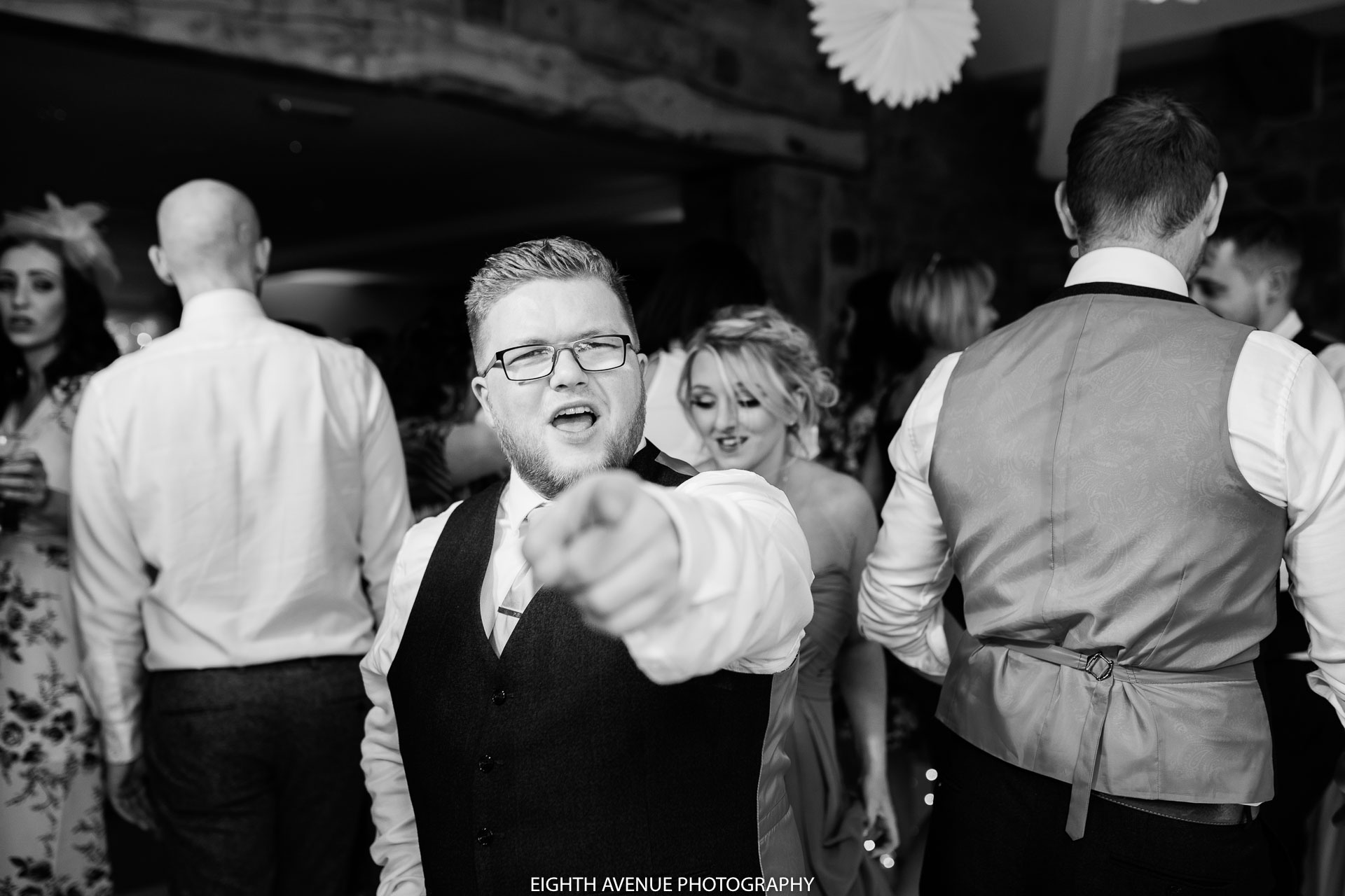 guest at wedding dancing