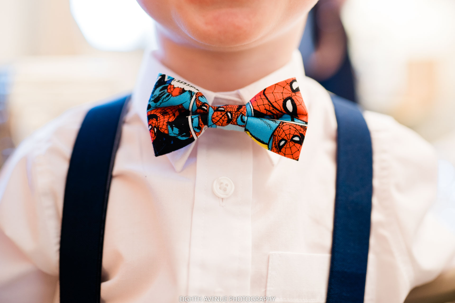 spiderman bow tie on page boy