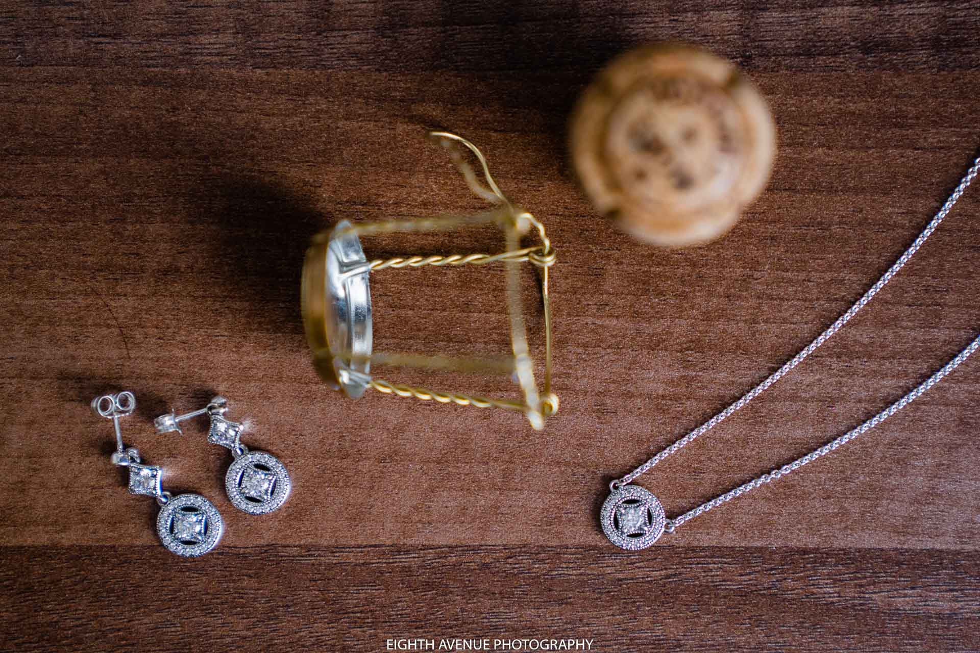 Wedding jewellery with champagne cork