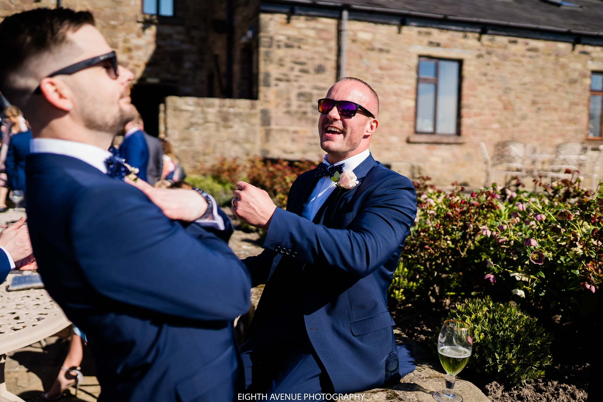 groomsman laughing