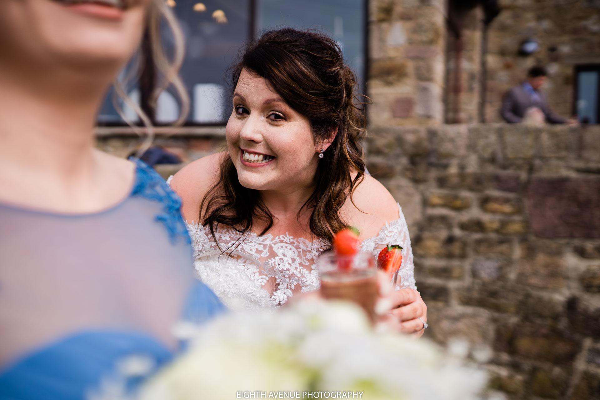 bride smiling into camera