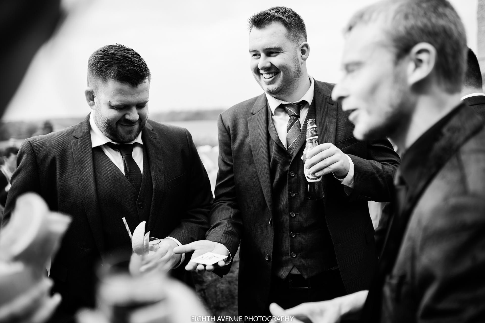 wedding guests watching magic