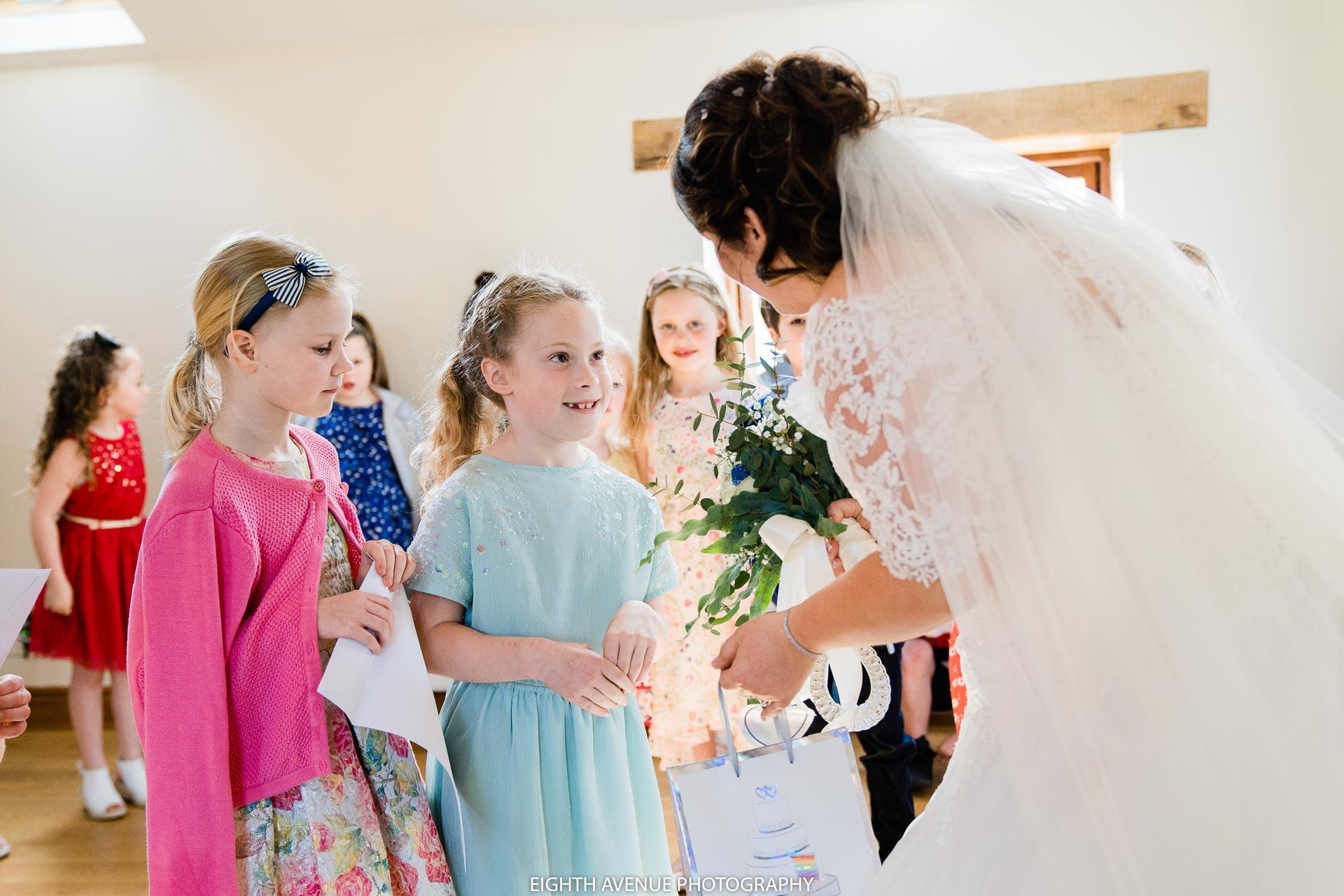 bride with school children