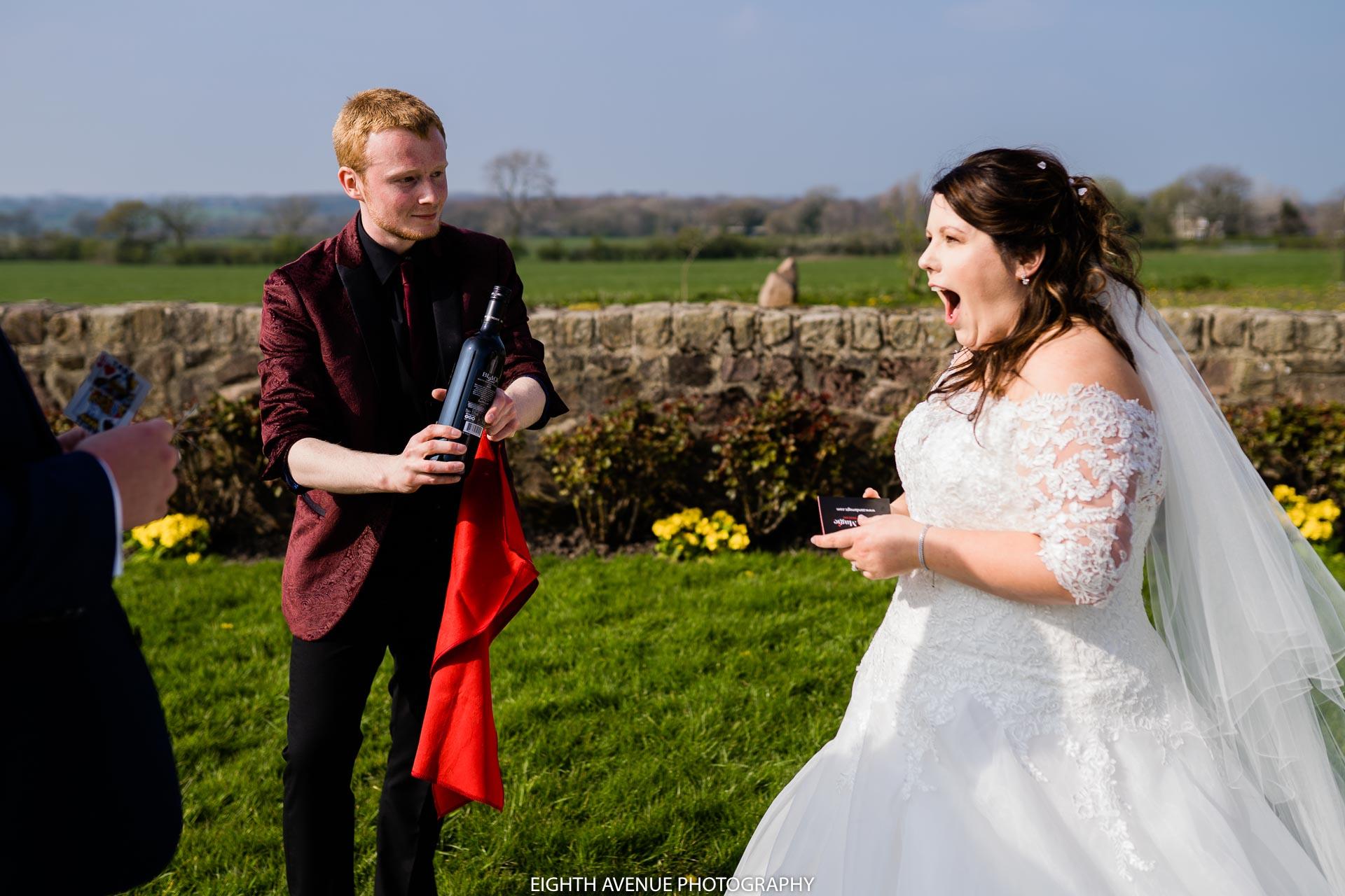 zanda magic performing to bride