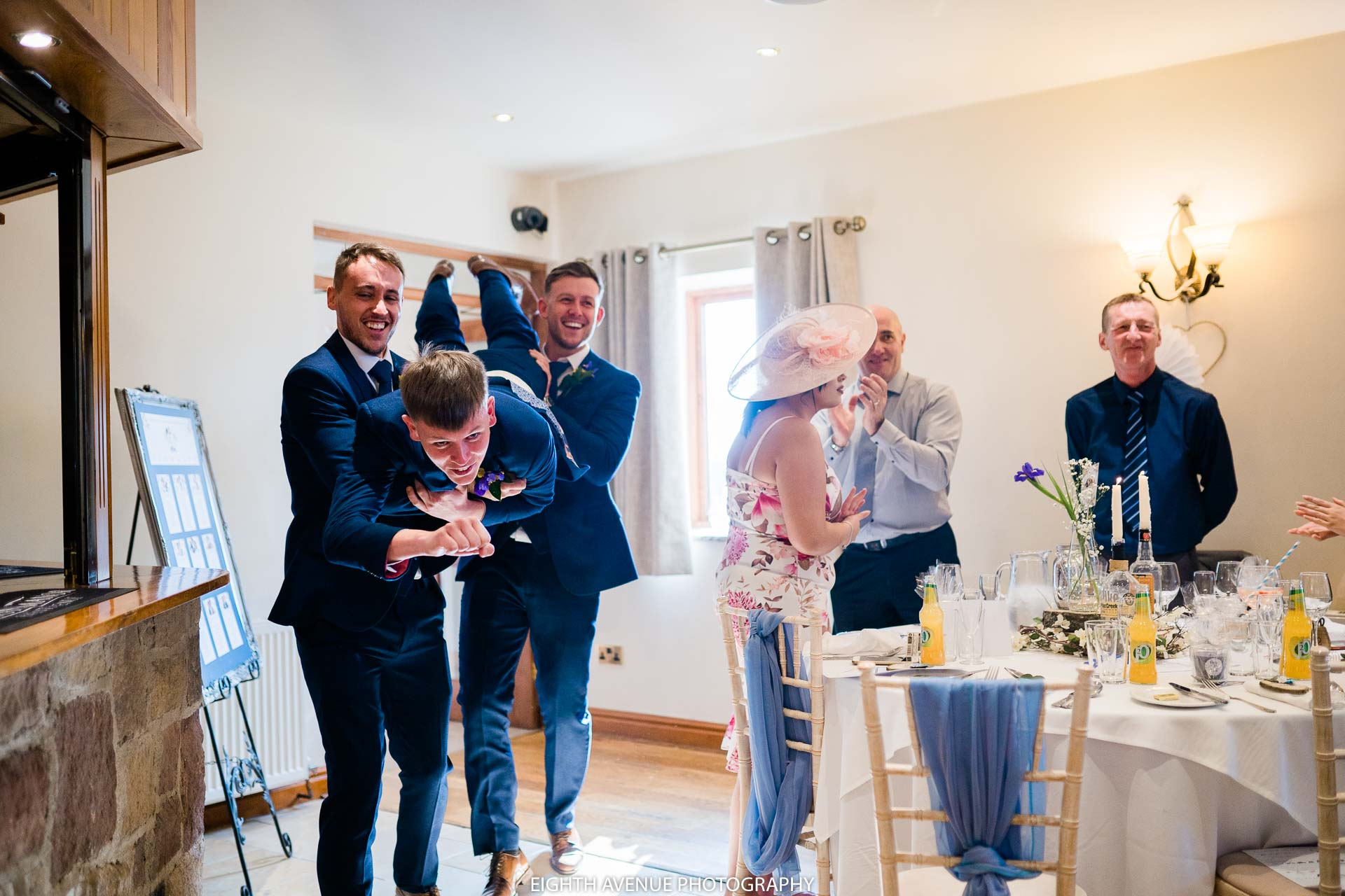 groomsmen entering the room