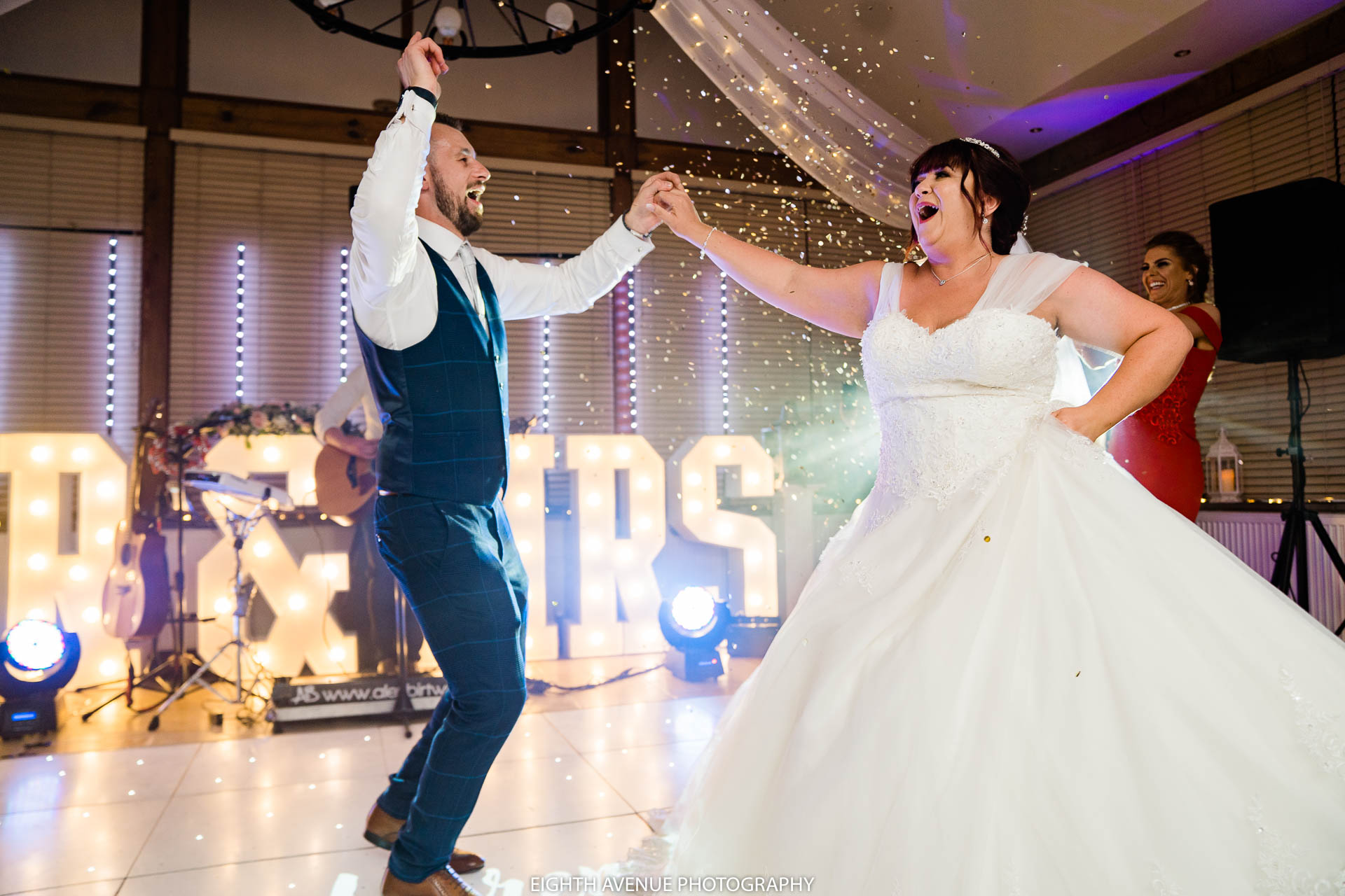 Bride and groom first dance confetti cannon