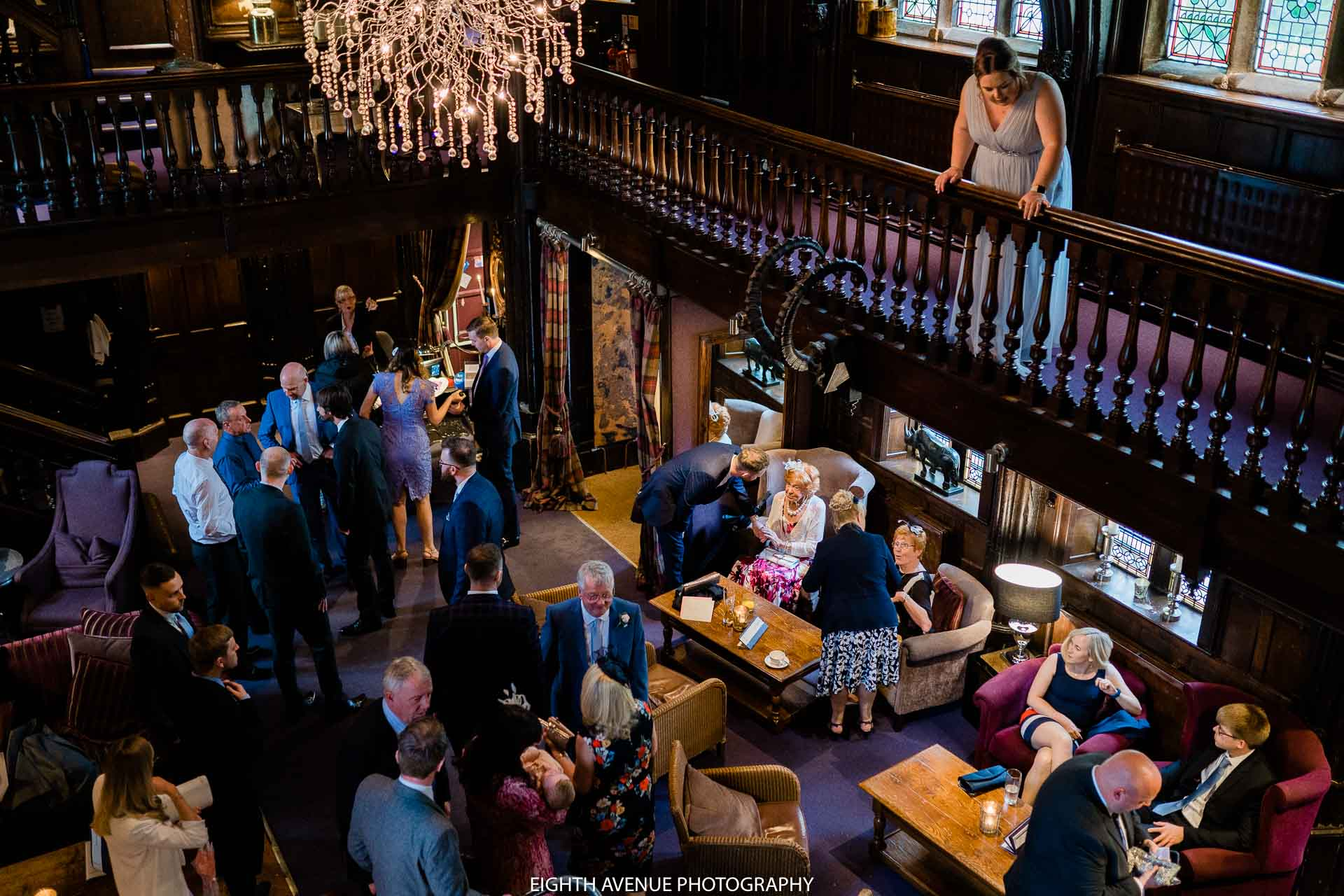 Wedding guests at Mitton hall
