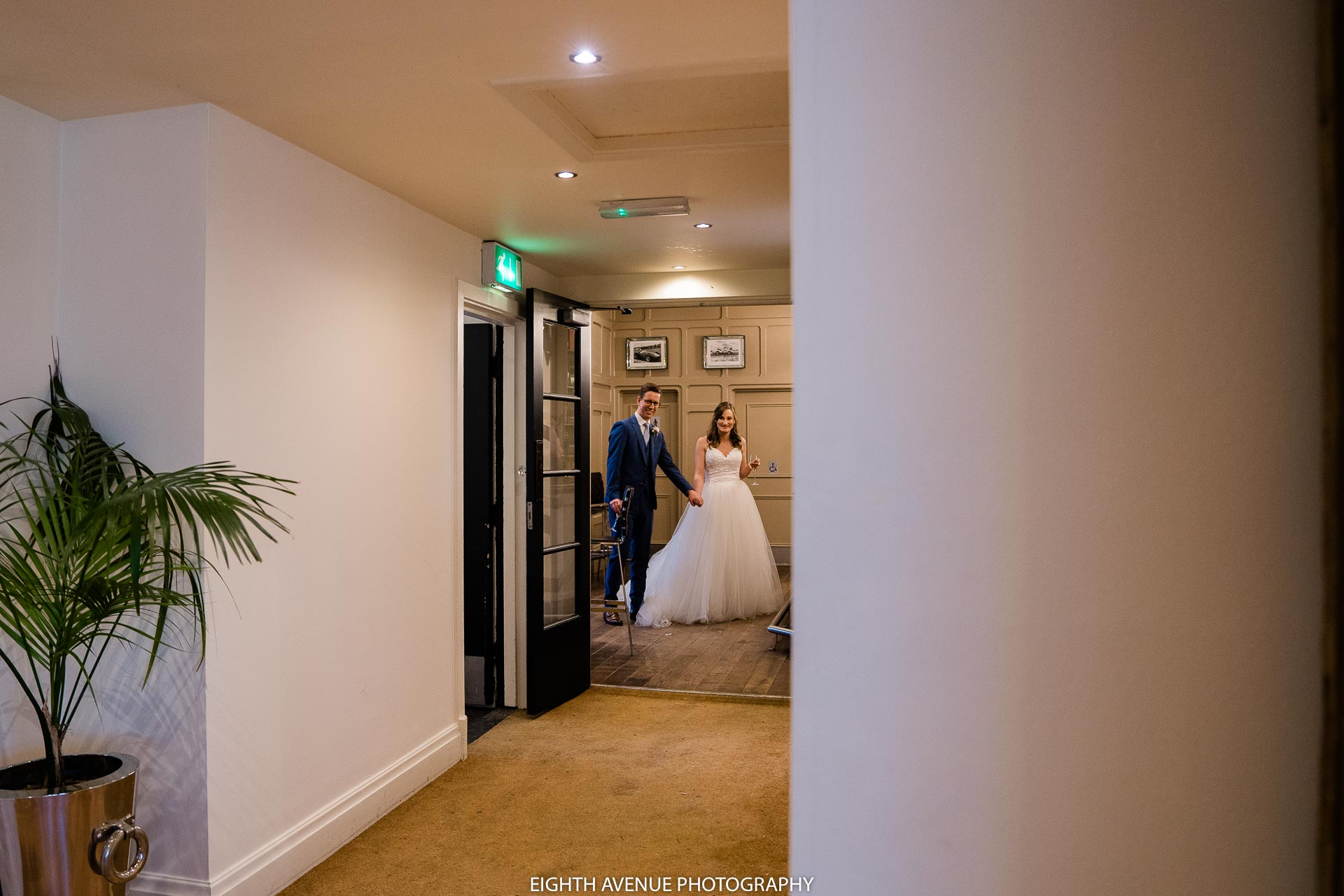 bride and groom wedding breakfast entrance