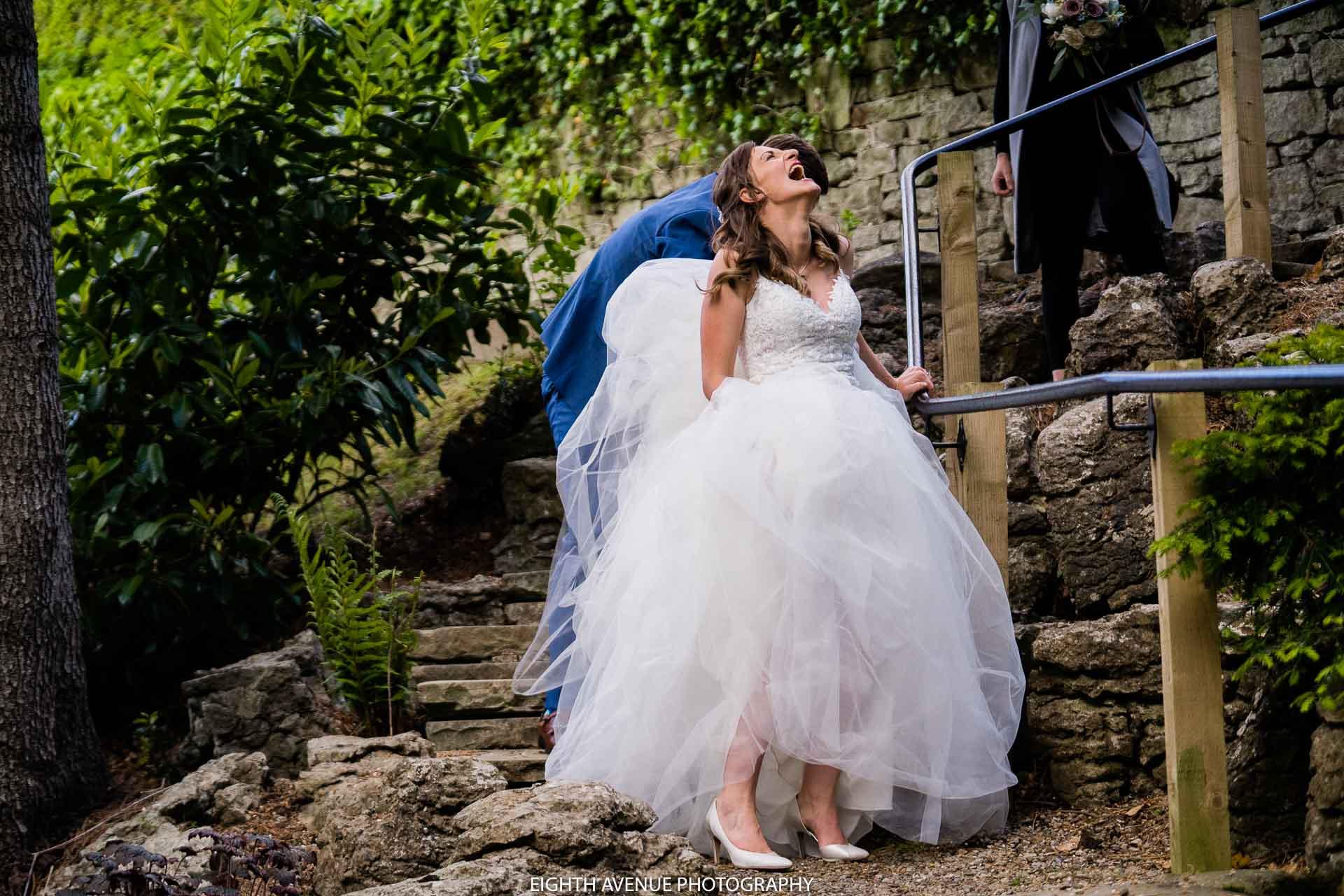 bride stuck laughing