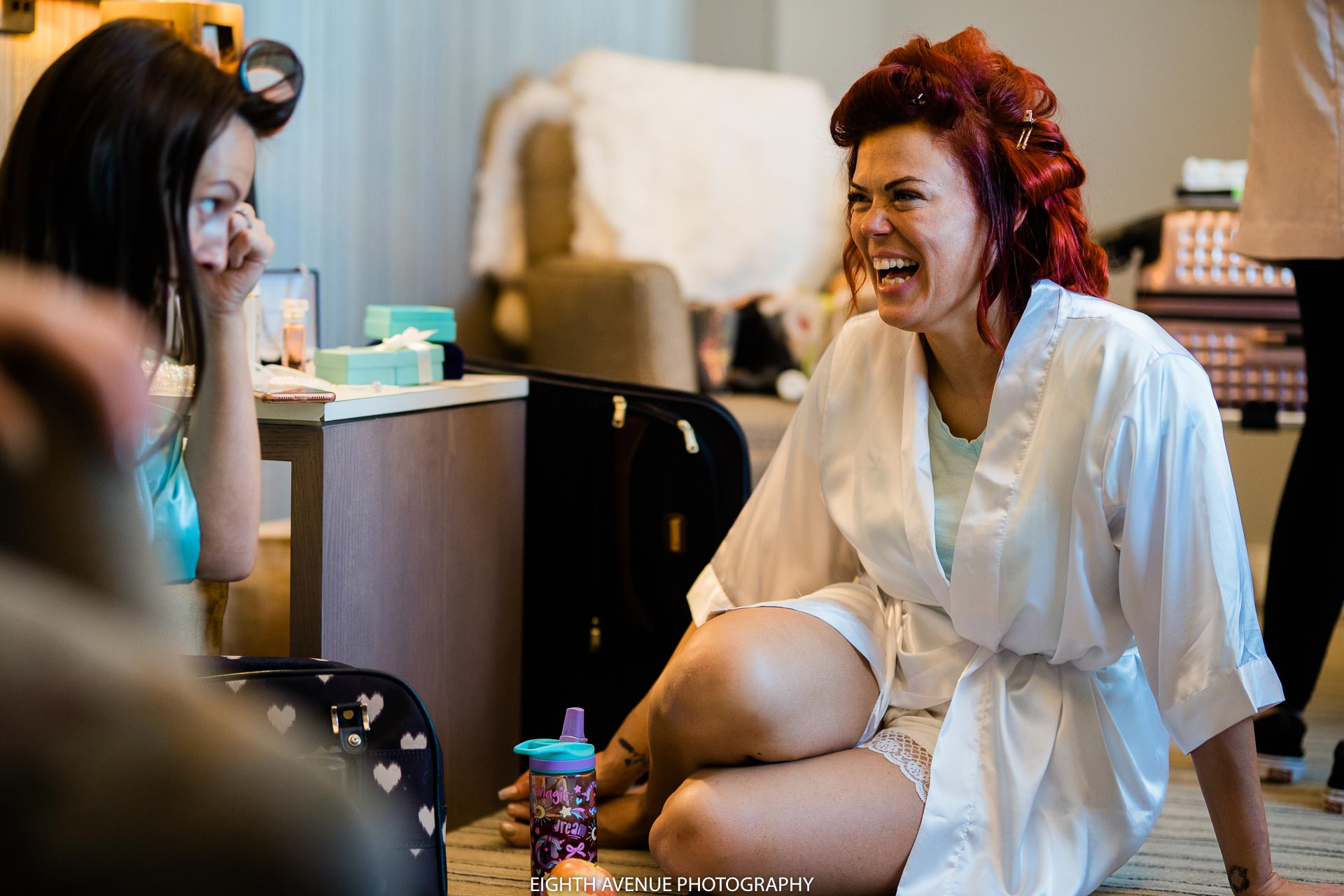 Bride laughing during bridal prep